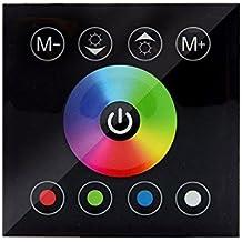 VIPMOON DC 12V-24V Panel táctil de panel Controlador de color RGBW Dimmer para 5050 Multi-color LED tira de iluminación, Negro