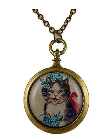 Kette Halskette messingfarben Vintage Taschenuhr Silhouette Katze mit Schleife und Blumen Frühling Cat 857