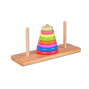 bunter Stapelturm für Kinder Holz Steckspiel Regenbogen Ringpyramide Stapelspiel Holzspielzeug Baby