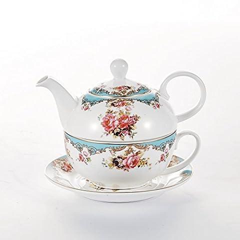 Malacasa, Série SWEET.TIME, Set Théière avec Tasse à Café Soucoupe Sous-tasse en Porcelaine Service à Thé Café (Fleuri 2)