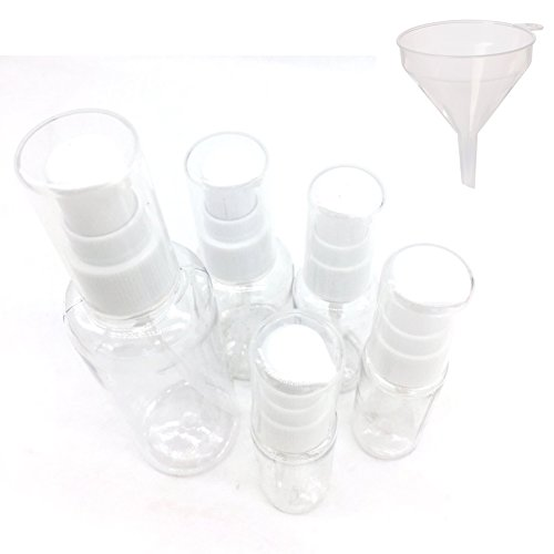 Beauty360 Verpackungsflaschen Transparent Mini Kosmetik Reisecontainer Gesund und sicher Haltbar AS Körper PP Pumpe Press Typ / Spray Typ (Press Type Pack von 5) (Bulk Großhandel Make Up)