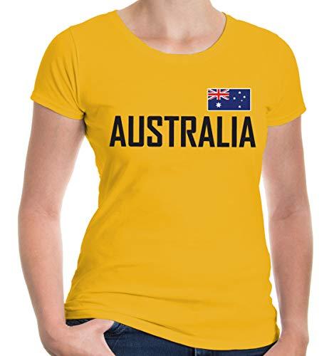 buXsbaum® Damen Girlie T-Shirt Australien | Australia Australie Ozeanien | Ländershirt Fanshirt Flagge | M, Gelb
