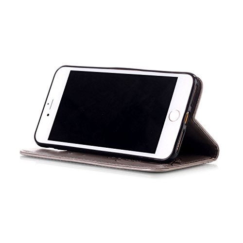 iPhone Case Cover Resin Rhinestone-Fall geprägte Blumen PU-lederner Kasten-Mappen-Kasten-Standplatz-Fall mit Handbügel für iPhone 7 plus ( Color : Blue , Size : IPhone 7 Plus ) Gray
