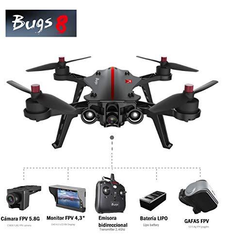 MODELTRONIC Brushless Racing Drohne MJX Bugs B8 mit FPV 5.8G Kamera + MJX G3 Brille + FPV Monitor MJX D43 Alle Komplett einsatzbereit / Zwei Flugmodi / Racing drohne mit Kamera und Brille