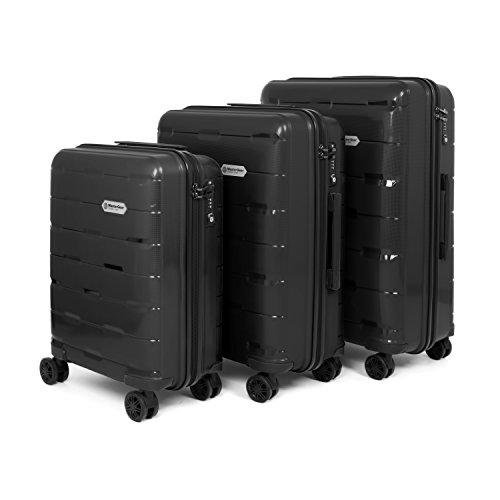 Mastergear set di valigie in polipropilene - con 4 ruote (360°) - trolley, valigia da viaggio, tsa, impilabili, 3 pezzi (s,m,l,), nero