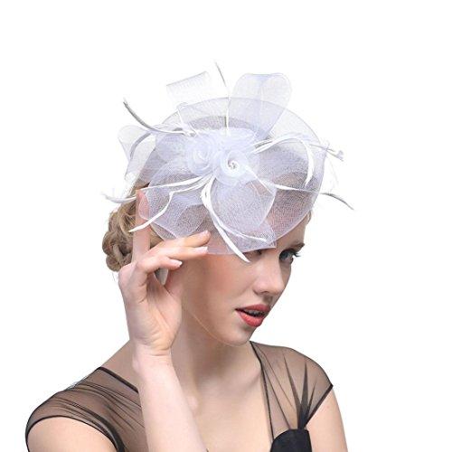 Hffan Hat Fascinators Hut Blume Mesh Bänder Federn auf einem Stirnband und einem geteilten Clip Cocktail Tea Party Headwear für Mädchen und Frauen Elegante Bänder Federn Stirnband (Weiß, 1 PC)