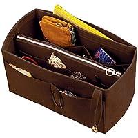 [Passt Neverfull MM/Speedy 30, Dunkelbraun] Filz-Organizer (w/abnehmbare Reißverschluss-Tasche), Tote-Filz-Geldbörse-Einsatz, Kosmetik-Make-up-Windel-Handtasche, Reißverschluss-Taschen