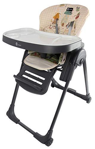 Clamaro 'Gourmet' Premium Baby Hochstuhl mit Liegefunktion, höhenverstellbar (6-Fach), sehr kompakt zusammenklappbar, Tablett 3-Fach verstellbar, 5-Punkt Gurt, Transportrollen mit Bremse - Anthrazit -