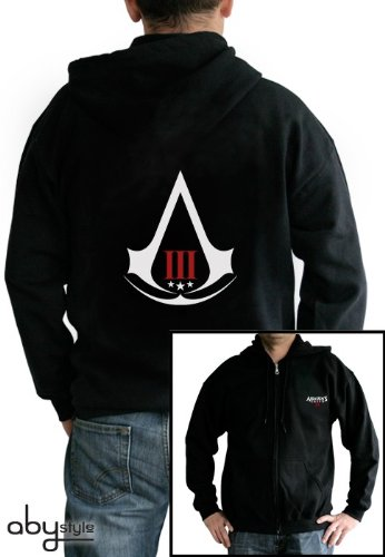 Assassin's Creed III Zipper Hoodie / Jacke: Assassin's Creed III - Crest (Schwarz) Größe XL