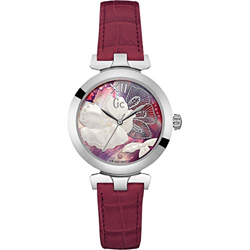 Guess Collection Women Analog Swiss Quartz Watch with Flower Dial and Red Leather  Strap Y22005L3 Gc 13178336003
