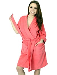 WeWo Damen Badejacke Saunamantel - Kimono - Farbe: Erdbeere
