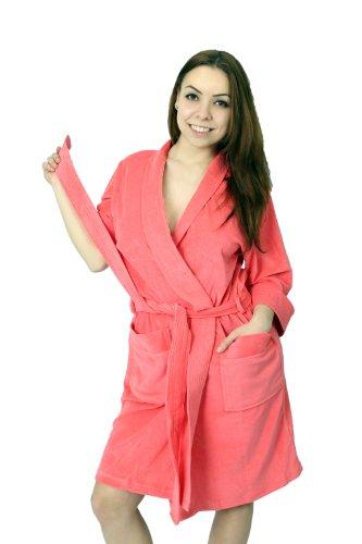 WeWo Damen Badejacke Saunamantel - Kimono - Farbe: Erdbeere Erdbeere