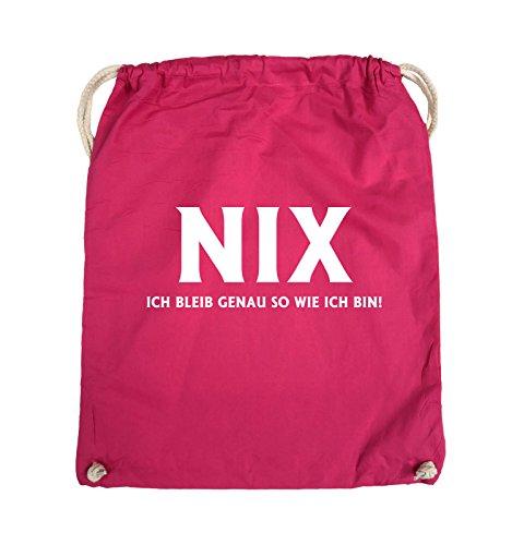 Comedy Bags - NIX ICH BLEIB GENAU SO - Turnbeutel - 37x46cm - Farbe: Schwarz / Silber Pink / Weiss