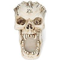 Cabeza de Cráneo de Halloween Pantalla Decoración Cráneo Sostenedor Del Cepillo Del Maquillaje Pluma Organizador de Almacenamiento Inmóvil para la Oficina de la Escuela Casera Decoración de Halloween