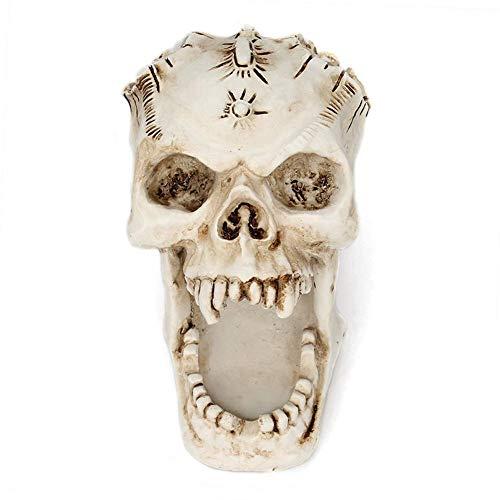 Womdee Skull Stifthalter für Schreibtisch, lustiges Halloween-Skelett, Süßigkeiten-Schüssel, Make-up-Pinsel, Organizer und Zubehör, Weiß