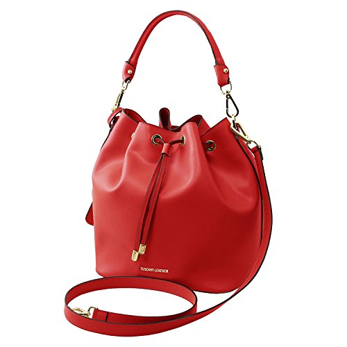 Tuscany Leather Vittoria - Sac secchiello pour femme en cuir Ruga - TL141531 (Taupe clair) Rouge