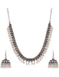 Ganapathy Gems Silver Metal Strand Necklace Set For Women (GPJC25)