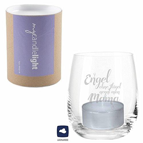 4you Design Leonardo Windlicht - Engel ohne Flügel nennt Man Mama MIT GESCHENKBOX - Windlicht mit Spruch, Teelichtglas, Geschenkidee, Geschenkidee zum Muttertag, Muttertagsgeschenk, Geschenk für Mama -