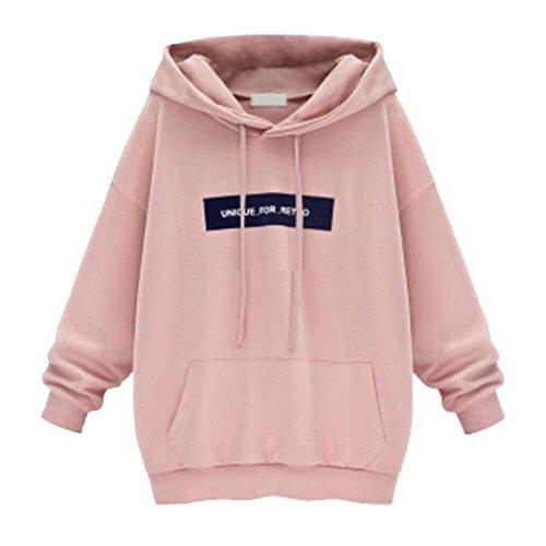 Hoodie Sweatshirt Damen Sunday Langarm Freizeit Eifach Kapuzenpullover Tops Bluse (XL, Rosa)