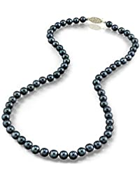 "14K Gold 6.5-7.0mm Japanese Akoya Black Cultured Pearl Necklace - AA+ Quality, 18"" Princess Length"