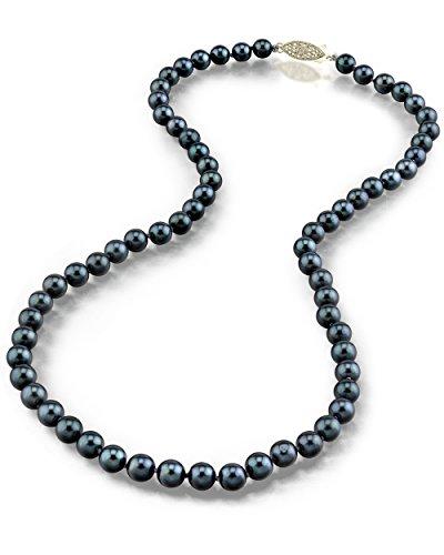 14 K oro 5, 5-6 0 millimeter. Akoya japonés negro collar de perla cultivada de calidad AA + -, 60,96 cm longitud del remolque