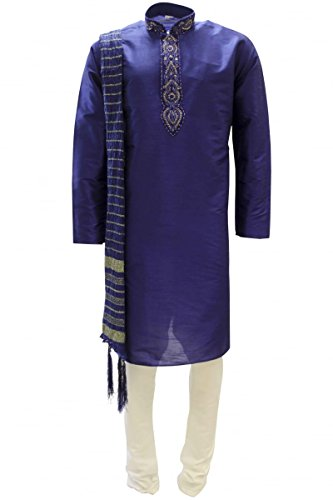 Blaue Saree (Krishna Sarees MKP9007 Blau und Elfenbein Herren Kurta Pyjama Indian Suit Bollywood Sherwani (Chest 42 inches))