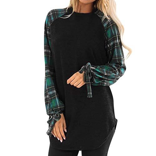 iHENGH Neujahrs Karnevalsaktion Damen Herbst Winter Bequem Lässig Mode Frauen beiläufiges Plaid Lange Hülsenpulli Blusen Hemd Sweatshirt