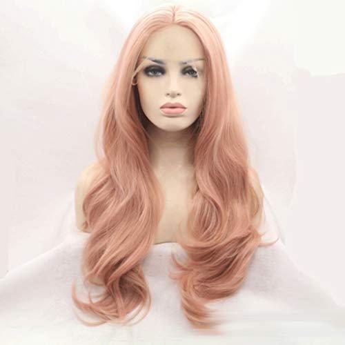DONGLU Pink Big Wave Front Lace Perücke europäischen und amerikanischen Damen High Temperature Silk Hood (Color : A, Size : M) Lace Hood