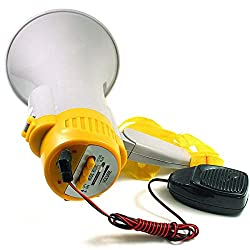 Fan Megafon Megaphone Lautsprecher mit Hand-Mikrofon Handmegafon; 15 Watt Sinus Leistung; Sirene, Aufnahmefunktion, klappbarer Griff,