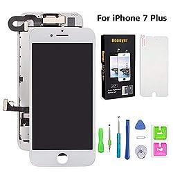 Hoonyer Für iPhone 7 Plus Display ersatzbildschirm LCD Touchscreen Display vorinstallierte frontkamera näherungssensor Reparatur kit komplette ersatzbildschirm mit Werkzeug (Weiß)