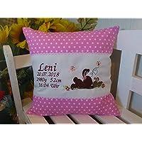 Kissen mit Namen bestickt zur Geburt Pferdchen rosa Schmetterling St.