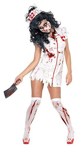 KULTFAKTOR GmbH Zombie OP Krankenschwester Halloween Damenkostüm Weiss-Rot ()