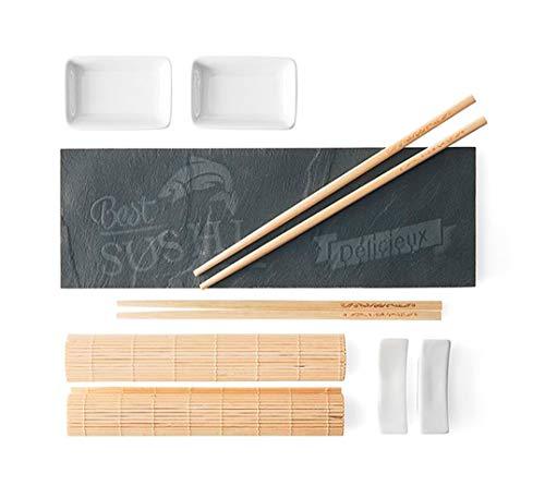 KASA Juego de Sushi de Cerámica para Dos Personas con Esterillas Individuales, Palillos de Bambú y Plato de Pizarra
