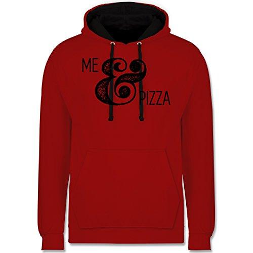 Statement Shirts - Me & Pizza Typo - Kontrast Hoodie Rot/Schwarz