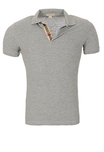 Burberry Herren T-shirts (BURBERRY Polo Brit Herren Slim Fit Poloshirt S-M-L-XL-XXL Outletware, Farbe:Hellgrau, Größe:S)