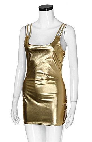CHEN Sexy Lingerie Patent Leather Teddy Clubwear Party Dress, 004 - Patent-korsett-kleid