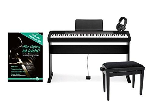 Casio-CDP-130-BK-Compact-E-Piano-Deluxe-SET-schwarz-mit-Holzstnder-Bank-Kopfhrer-und-Schule-88-Tasten-Anschlagsdynamik-Polyphonie-48-Stimmen-USB-Port-Midi-Metronom-Netzteil