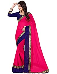 Saree Shree Laxmi Creatiom Womens Rani Colour Chiffon Saree ,sarees For Women, Sarees For Girl, Designer Sarees...