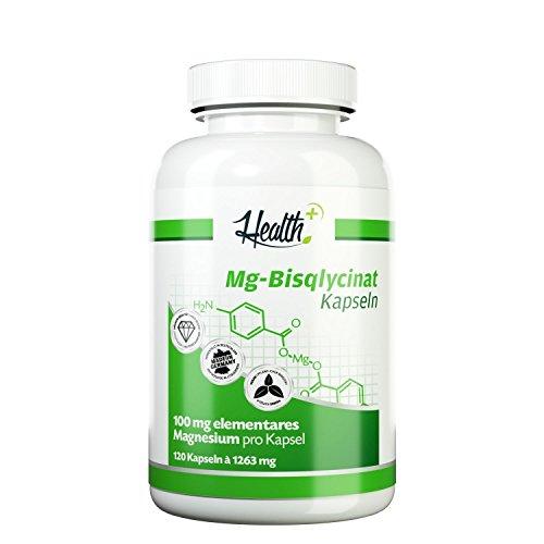HEALTH+ Magnesium Bisglycinat - 120 Kapseln, 100 mg elementares Magnesium pro Kapsel, optimale Resorption durch Bisglycinat und Aminosäure L-Glycin, Made in Germany