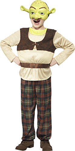 Smiffys Kinder Shrek Kostüm, Gepolstertes Top, Hose und Maske, Shrek, Größe: M, 20490