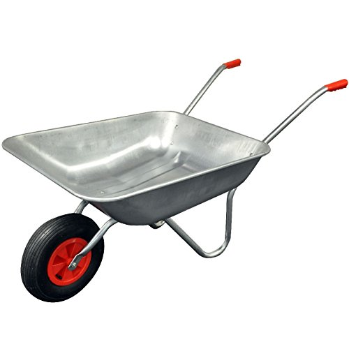CrazyGadget® Wheelbarrow Garden Wheel Barrow Galvanised Heavy Duty Pneumatic Tyre Professional DIY 65 Litre Metal Handle