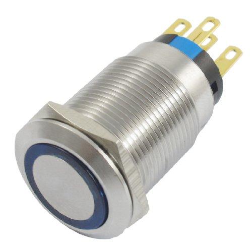 24 V azul de auto-bloqueo contacto SPDT inoxidable interruptor de botón