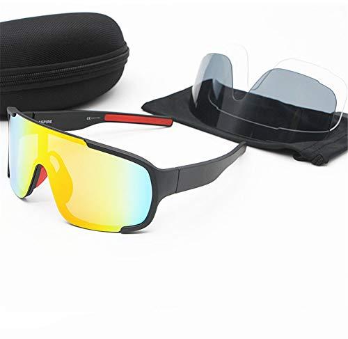 erhuo Reitbrillen-Mountain-Road-Bike-Brillen tragen Sonnenbrillen im Freien, schwarz