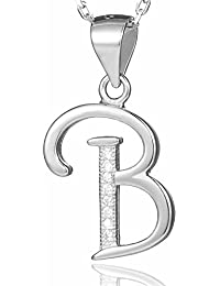 e2140fc5f715 Morella collar de plata con colgante letra B de 925 plata rodiada con  piedras de circonita para damas 45cm color blanco. B00WUAKWGU
