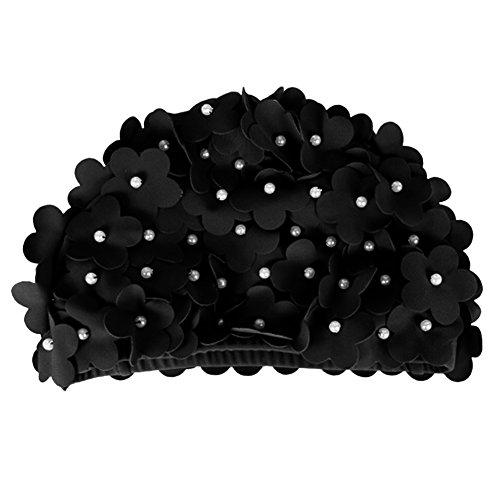 Tininna Nylon Badekappe handgefertigt Blumen für Damen 1Stück. Gr. Freie Größe, schwarz Bebe Satin
