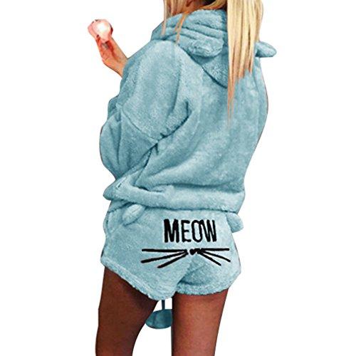 Juleya Winter Frauen Zweiteiler Pyjamas Warme Korallen SAMT Anzug Nachtwäsche Nette Katze Muster Hoodies + Shorts Outfit Sky Blue S