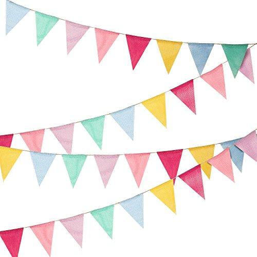 Hicarer 36 Banderas Banderines de Arpillera de Imitación Banderas de Triángulo Decoración de Fiesta