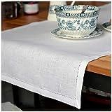 Linen & Cotton Chemin De Table de Luxe Florence Ajourée, 100% Lin - Blanc (43 x 130cm)