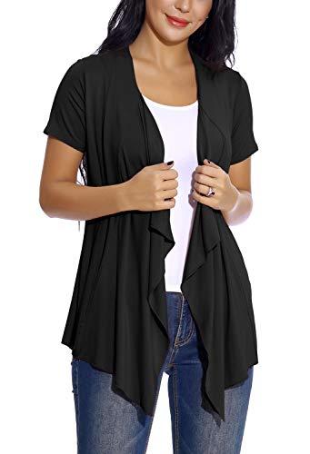 EXCHIC Damen Cardigan mit offener Vorderseite Unregelmäßiger Saum Kurzarm-Outfits (XL, Schwarz) -