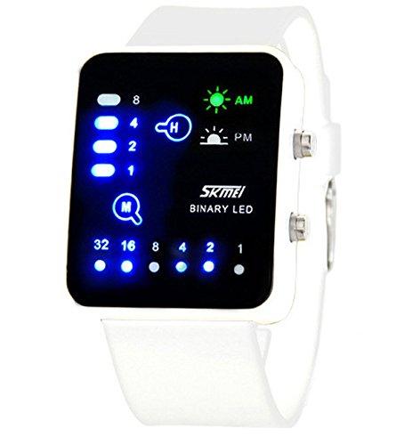 ufengke® rectangle de la mode cadran binaire conduit montre à bracelet poignet étanche,unique montre à bracelet de sport légère de nuit pour hommes,femmes,blanc
